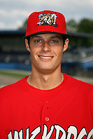 July 1, 2009:  Pitcher Joe Kelly of the Batavia Muckdogs before a game at Dwyer Stadium in Batavia, NY.  The Muckdogss are the NY-Penn League Short-Season Class-A affiliate of the St. Louis Cardinals.  Photo by:  Mike Janes/Four Seam Images