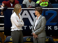 California head coach Lindsay Gottlieb talks with Stanford head coach Tara VanDerveer before the game at Haas Pavilion in Berkeley, California on January 8th, 2013.  Stanford defeated California, 62-53.