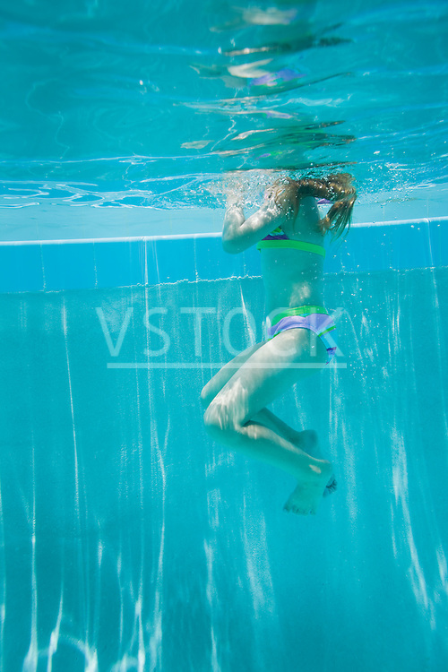 USA Florida, St. Pete Beach, Underwater shot of girl (8-9) swimming