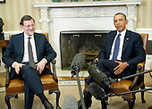 United States President Barack Obama, right, meets Mariano Rajoy Brey, President of the Government of the Kingdom of Spain (Prime Minister) in the Oval Office of the White House in Washington, D.C. on Monday, January 13, 2014.<br /> Credit: Ron Sachs / Pool via CNP
