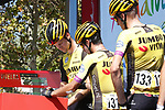 Lennard Hofstede (NED), Primoz Roglic (SLO) and Robert Gesink (NED) Team Jumbo Visma at sign on before Stage 7 of La Vuelta 2019 running 183.2km from Onda to Mas de la Costa, Spain. 30th August 2019.<br /> Picture: Luis Angel Gomez/Photogomezsport | Cyclefile<br /> <br /> All photos usage must carry mandatory copyright credit (© Cyclefile | Luis Angel Gomez/Photogomezsport)