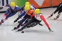 SHORT TRACK: DORDRECHT: Sportboulevard, 13-02-2016, ISU World Cup Short Track Final 2015/2016, Kassandra Bradette (#13), Rianne de Vries (#18), ©photo Martin de Jong