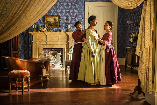 "Jannette Sepwa as Sarah, Adina Porter as Pearly Mae and Amirah Vann as Ernestine in WGN America's ""Underground."