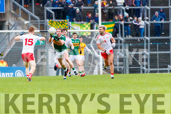 Tadhg Morley  Kerry in action against Tiernan McCann Tyrone during the Allianz Football League Division 1 Round 1 match between Kerry and Tyrone at Fitzgerald Stadium, Killarney on Sunday.