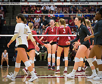 STANFORD, CA - November 2, 2018: Meghan McClure, Jenna Gray, Holly Campbell at Maples Pavilion. No. 1 Stanford Cardinal defeated No. 15 Colorado Buffaloes 3-2.
