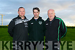 Launch of Kerry U15 Soccer squad at Mounthawk Park on Monday. Management Team l-r Joby Costello, goalkeeping coach, JP Mullens, Co-Manager,  Danny Diggin s, Co - Manager