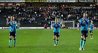 Fleetwood Town's Ashley Eastham, George Glendon, Cian Bolger and Ashley Hunter applaud their travelling fans at the end of the game<br /> <br /> Photographer Andrew Kearns/CameraSport<br /> <br /> The EFL Sky Bet League One - Milton Keynes Dons v Fleetwood Town - Saturday 11th November 2017 - Stadium MK - Milton Keynes<br /> <br /> World Copyright &copy; 2017 CameraSport. All rights reserved. 43 Linden Ave. Countesthorpe. Leicester. England. LE8 5PG - Tel: +44 (0) 116 277 4147 - admin@camerasport.com - www.camerasport.com