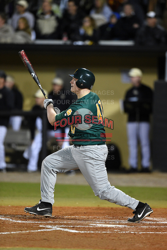 Siena Saints designated hitter Joe Drpich (47) at bat during the opening game of the season against the UCF Knights on February 13, 2015 at Jay Bergman Field in Orlando, Florida.  UCF defeated Siena 4-1.  (Mike Janes/Four Seam Images)