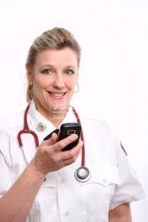 A Wisconsin EMT on a cell phone