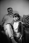 Shatila, UNRWA camp. Yussef Majzub and his grand-daughter Roseanne. Yussef was born in Palestine and Roseanne in the Shatila camp.<br />  <br /> Chatila, camp de l'UNRWA. Youssef Majzoub et sa petite fille Roseanne. Youssef est n&eacute; en Palestine et Roseanne au camp de Chatila.