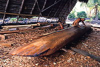 EDITORIAL ONLY. Demonstration of canoe carving and building at Pu'uhonua o Honaunau National Park, (City of refuge) South Kona, Big Island