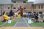 28 MAY 2016: Benjamin Ezike of Buffalo State competes in the men's triple jump during the Division III Men's and Women's Outdoor Track & Field Championship held at Walston Hoover Stadium on the Wartburg College campus in Waverly, IA. Ezike won the event with a jump of 15.53m. Conrad Schmidt/NCAA Photos