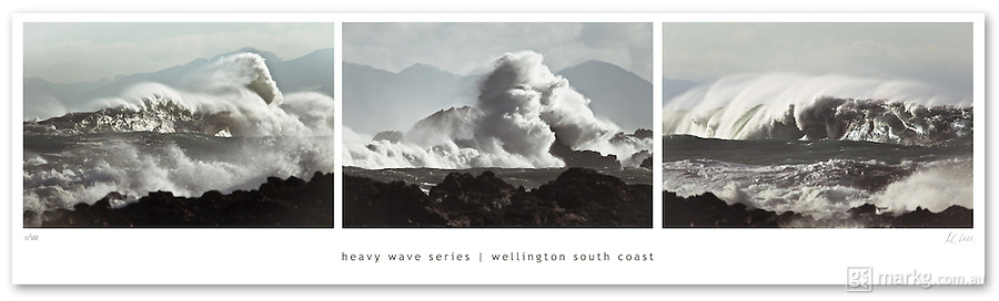 This Heavy Wave Series is a limited edition print. Each print is individually signed &amp; numbered by the photographer, Mark Gee. They measure 105cm x 30cm and there are only 100 of these prints available.<br /> <br /> The photographs were taken on Wellington's rugged south coast in New Zealand. Huge seas are whipped up by large storms to the south east of Wellington, creating large ocean swells that travel for hundreds of kilometres before they hit the mainland. These photos capture the raw power of these waves as they break onto rocky reefs &amp; shelves that make up a majority of the shoreline around Wellington's south coast.