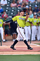 Brett Cumberland of the Rome Braves swings at at a pitch during the home run derby as part of the All Star Game festivities at Spirit Communications Park on June 19, 2017 in Columbia, South Carolina. The Soldiers defeated the Celebrities 1-0. (Tony Farlow/Four Seam Images)