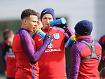 England's Dele Alli and Eric Dier take a drink during training at the Tottenham Hotspur Training Centre.  Photo credit should read: David Klein/Sportimage
