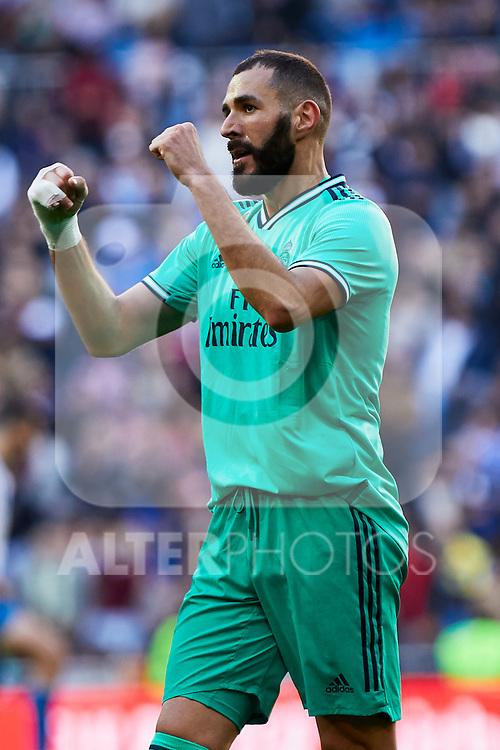 Karim Benzema of Real Madrid celebrates goal during La Liga match between Real Madrid and RCD Espanyol at Santiago Bernabeu Stadium in Madrid, Spain. December 07, 2019. (ALTERPHOTOS/A. Perez Meca)