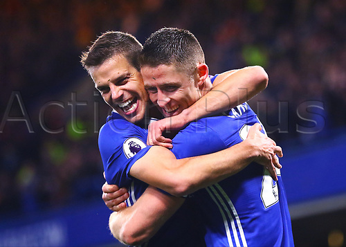April 25th 2017, Stamford Bridge, Chelsea, London England; EPL Premier league football, Chelsea FC versus Southampton; Gary Cahill of Chelsea celebrates his goal with Cesar Azpilicueta of Chelsea, after heading past Southampton Goalkeeper Fraser Forster in the 46th minute to make it 2-1 Chelsea
