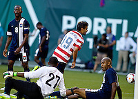 PORTLAND, Ore. - July 9, 2013: Chris Wondolowski scores his first goal of the half. The US Men's National team plays the National team of Belize during the 2013 Gold Cup at at JELD-WEN Field.