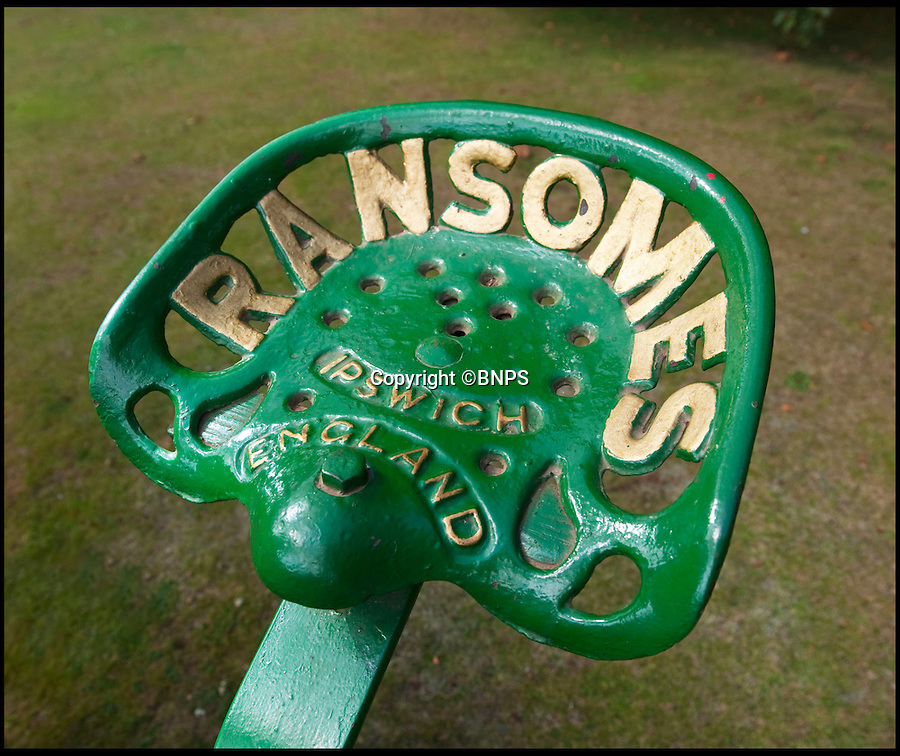 BNPS.co.uk (01202 558833)<br /> Pic: PhilYeomans/BNPS.co.uk<br /> <br /> Lawnmowing aristocracy...<br /> <br /> Chauffer's seat.<br /> <br /> The worlds first powered mower has taken to the grass once more after an exhaustive restoration by lawnmower nut Andrew Hall from Somerset.<br /> <br /> Forerunner of all the machines that have graced British lawns on sunday afternoons through the decades since, This 1902 Ransome 3hp is a historic survivor from the Edwardian age when chauffers were given the task of grooming their masters lawns and the new fangled machines cost as much as a house.