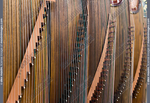 Closeup of Guzheng, Chinese zither at a music instrument store in Shanghai, China.