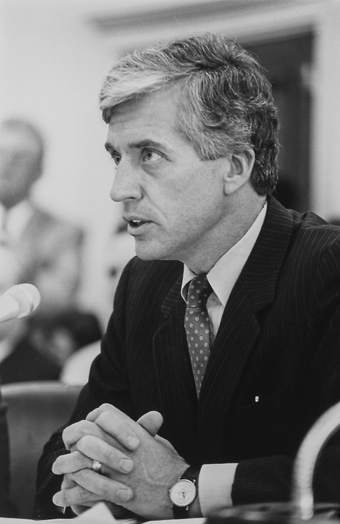 Rep. Jim Slattery, D-Kans., giving testimony for impact aid before HHS sub committee on May 6, 1992. (Photo by Maureen Keating/CQ Roll Call)