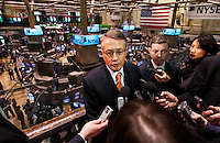 Treasurer Wayne Swan holds a press conference at the New York Stock Exchange. photo by Trevor Collens