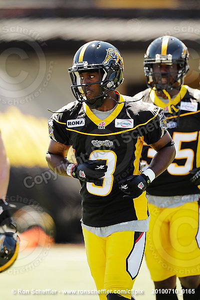 July 10, 2010; Hamilton, ON, CAN; Hamilton Tiger-Cats defensive back Marc Beswick (3). CFL football: Calgary Stampeders vs. Hamilton Tiger-Cats at Ivor Wynne Stadium. The Tiger-Cats lost against the Stampeders 23-22. Mandatory Credit: Ron Scheffler. Copyright (c) 2010 Ron Scheffler.