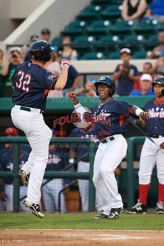 Daytona Tortugas Shed Long (right) celebrates with teammate Gavin LaValley (32) hit a two run home run in the bottom of the third inning during the Florida State League All-Star Game on June 17, 2017 at Joker Marchant Stadium in Lakeland, Florida.  FSL North All-Stars  defeated the FSL South All-Stars  5-2.  (Mike Janes/Four Seam Images)