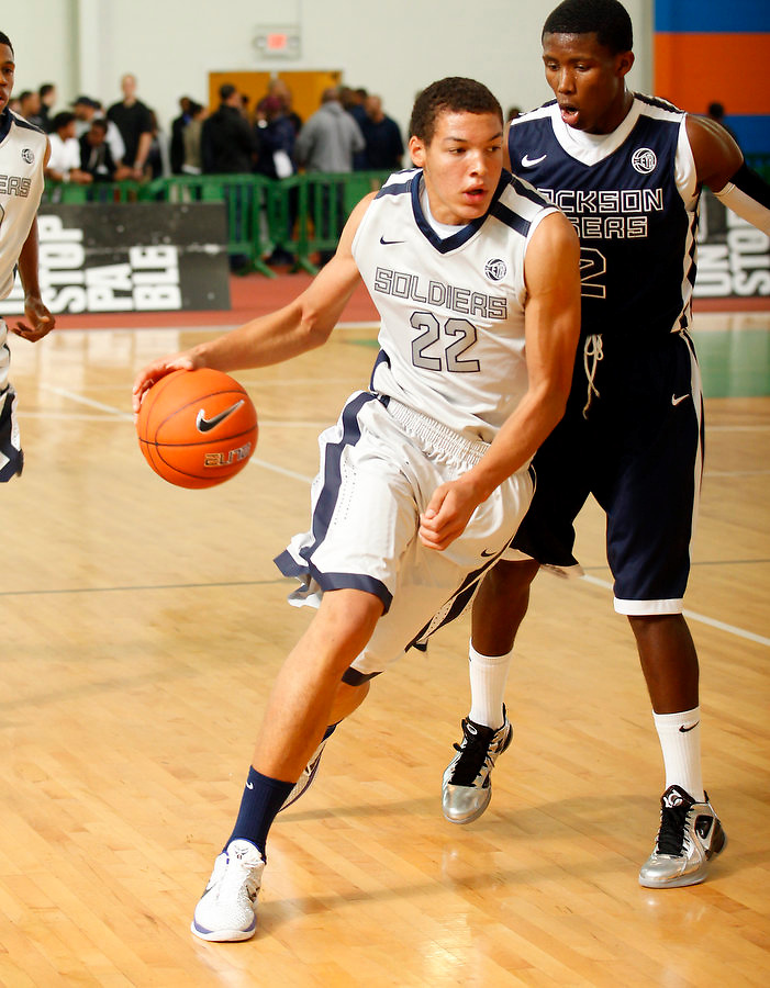 April 9, 2011 - Hampton, VA. USA;  Aaron Gordon participates in the 2011 Elite Youth Basketball League at the Boo Williams Sports Complex. Photo/Andrew Shurtleff