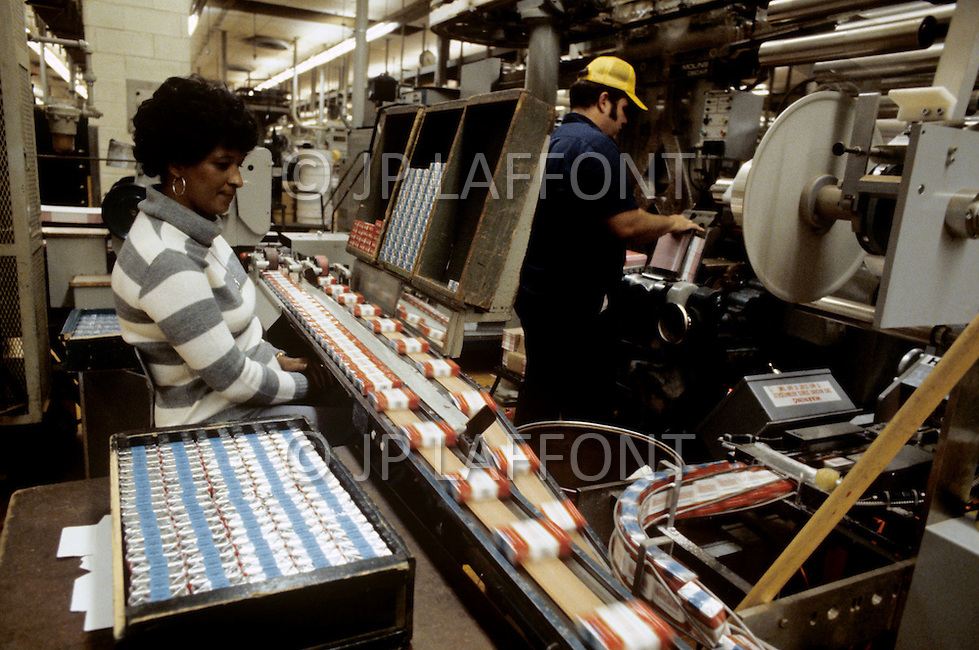 Winston - Salem, North Carolina, September, 1978. Tobacco assembly line.