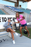 Cary, North Carolina  - Saturday September 09, 2017: Debinha and Jessica McDonald prior to a regular season National Women's Soccer League (NWSL) match between the North Carolina Courage and the Houston Dash at Sahlen's Stadium at WakeMed Soccer Park. The Courage won the game 1-0.