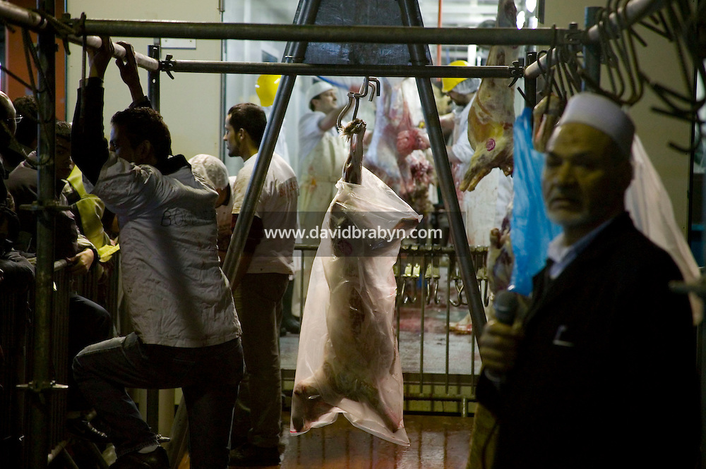 The carcass of a freshly slaughtered sheep hangs on a rack at a temporary slaughterhouse set up in an hanger in Pantin, outside Paris, France, 1 February 2004, during the ritual sheep slaughter held for the Muslim celebration of Aid-el-Kebir. Photo Credit: David Brabyn.