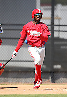 March 30, 2010:  Outfielder Domonic Brown of the Philadelphia Phillies organization during Spring Training at the Carpenter Complex in Clearwater, FL.  Photo By Mike Janes/Four Seam Images
