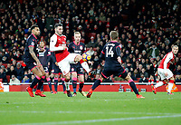 Sead Kolasinac of Arsenal juggles through the Huddersfield Town FC defence during the Premier League match between Arsenal and Huddersfield Town at the Emirates Stadium, London, England on 29 November 2017. Photo by Carlton Myrie / PRiME Media Images.