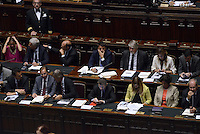 Roma, 16 Settembre 2014<br /> Camera dei Deputati.<br /> Matteo Renzi presenta il programma di governo dei prossimi mille giorni.<br /> I banchi del Governo.<br /> Rome, 16 September 2014 <br /> Chamber of Deputies. <br /> Matteo Renzi presents the program of the next thousand days. <br /> The government benches.