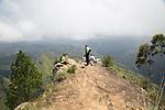 Walkers on the peak of Ella Rock mountain, Ella, Badulla District, Uva Province, Sri Lanka, Asia