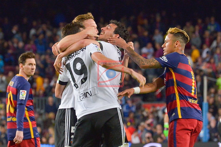 League BBVA 2015/2016 - Game: 33.<br /> FC Barcelona vs Valencia FC: 1-2.<br /> Mustafi, Barragan, Parejo &amp; Neymar Jr.