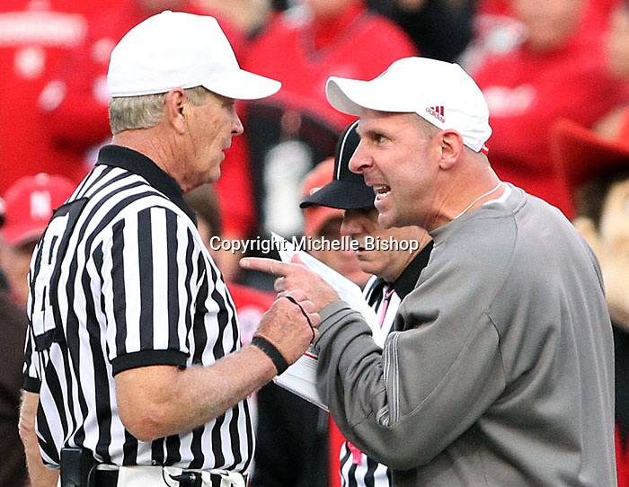 Nebraska Head Coach Bo Pelini voices his opinion on a call. No. 14 Nebraska beat  No. 7 Missouri 31-17 at Memorial Stadium in Lincoln, Nebraska.