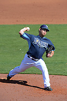 Tampa Bay Rays pitcher Steve Geltz (79) during a spring training game against the Minnesota Twins on March 2, 2014 at Charlotte Sports Park in Port Charlotte, Florida.  Tampa Bay defeated Minnesota 6-3.  (Mike Janes/Four Seam Images)