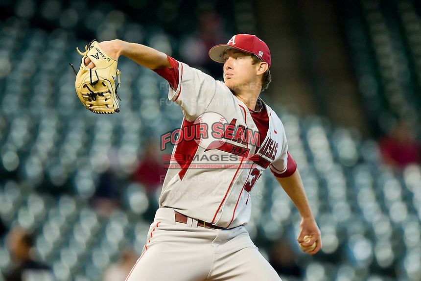 Starting pitcher Randall Fant #32 of the Arkansas Razorbacks in action against the Houston Cougars at Minute Maid Park on March 3, 2012 in Houston, Texas.  The Cougars defeated the Razorbacks 4-1.  Brian Westerholt / Four Seam Images