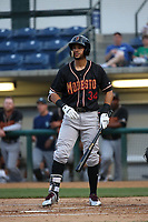 Luis Liberato (34) of the Modesto Nuts bats against the Rancho Cucamonga Quakes at LoanMart Field on August 1, 2017 in Rancho Cucamonga, California. Rancho Cucamonga defeated Modesto, 2-1. (Larry Goren/Four Seam Images)