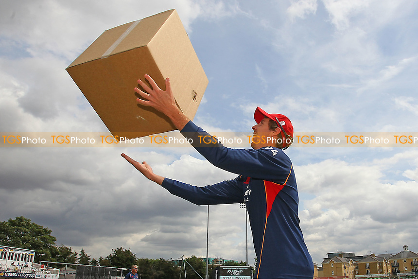Matt Quinn of Essex with a cardboard box during Essex Eagles vs Glamorgan, Royal London One-Day Cup Cricket at the Essex County Ground on 26th July 2016