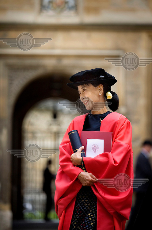 Daw Aung San Suu Kyi, Chairperson of the Burmese National League for Democracy (NLD) at the Bodlian Library in the University of Oxford where she was presented with an honorary degree.