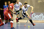 Berlin, Germany, February 09: During the FIH Indoor Hockey World Cup Pool A group match between Germany (white) and Trinidad and Tobago(red) on February 9, 2018 at Max-Schmeling-Halle in Berlin, Germany. Final score 10-2. (Photo by Dirk Markgraf / www.265-images.com) *** Local caption *** Christopher RUEHR #17 of Germany