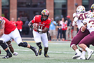 College Park, MD - September 22, 2018:  Maryland Terrapins quarterback Kasim Hill (11) runs the ball during the game between Minnesota and Maryland at  Capital One Field at Maryland Stadium in College Park, MD.  (Photo by Elliott Brown/Media Images International)