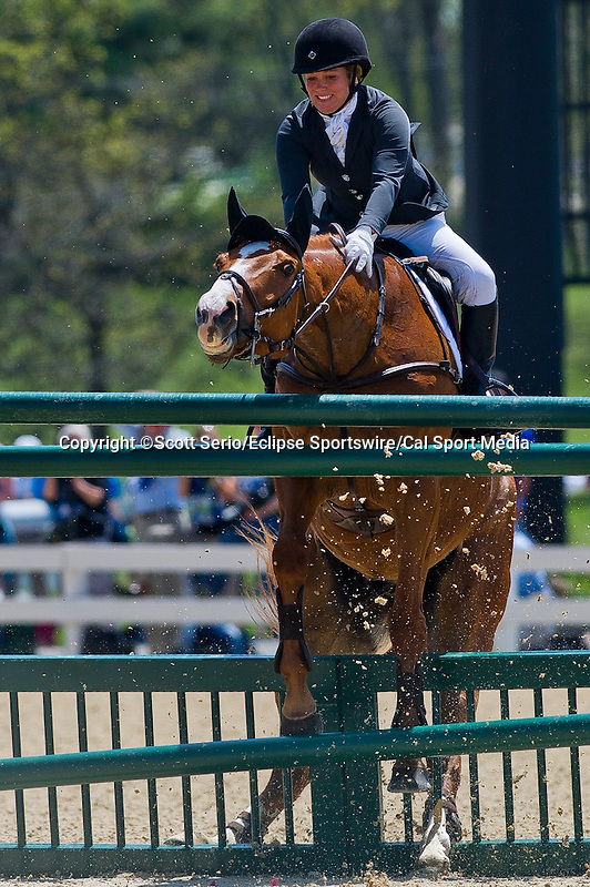 April 27, 2014: HOUDINI, ridden by Katie Frei (USA), competes in the Stadium Jumping Finals at the Rolex Kentucky 3-Day Event at the Kentucky Horse Park in Lexington, KY. Scott Serio/ESW/CSM