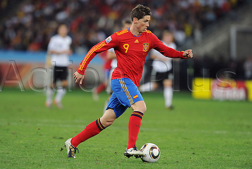 Fernando Torres of Spain in action during the 2010 FIFA World Cup Semi Final soccer match between Germany and Spain at Princess Magogo Stadium on July 7, 2010 in Durban, South Africa.