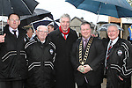 Mick Toner, Chairman of Drogheda Town Football Club, John Delaney from the FAI, Mayor Paul Bell with founder members Joe Furnace and Jimmy Maguire at the Turning of the First Sod for the New Clubhouse for Drogheda Town Football Club at Marion Park...(Photo credit should read Jenny Matthews/NEWSFILE)...