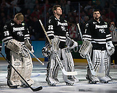 Nick Ellis (PC - 35), Jon Gillies (PC - 32), Brendan Leahy (PC - 1) - The Providence College Friars defeated the Boston University Terriers 4-3 to win the national championship in the Frozen Four final at TD Garden on Saturday, April 11, 2015, in Boston, Massachusetts.