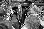 """United States Senate Minority Leader Howard Baker (Republican of Tennessee) speaks to reporters at the White House in Washington, DC after meeting with US President Jimmy Carter on April 24, 1980.<br /> Credit: Benjamin E. """"Gene"""" Forte / CNP"""
